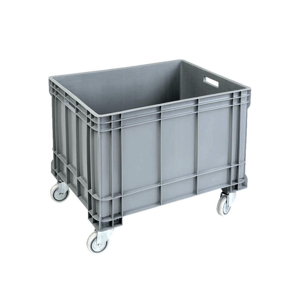 Tekerlekli Plastik Kasa 61x81 cm - 200 Kg. Gri