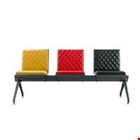 Parla - D Üçlü Bekleme Koltuğu 86x58x188 cm Sarı-Kırmızı-Siyah